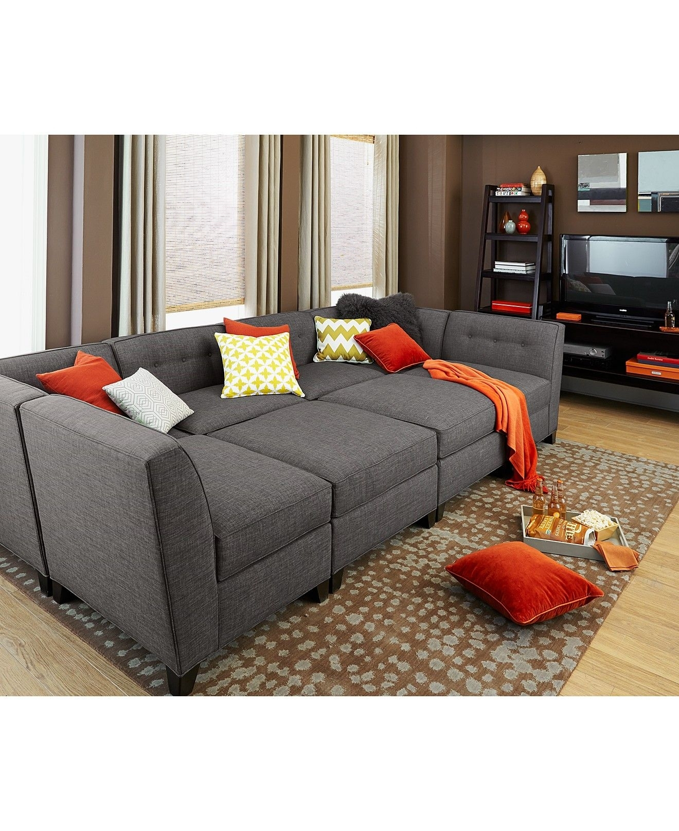 Harper Fabric Modular Sectional Sofa 6 Piece Square Corner Unit throughout Aquarius Light Grey 2 Piece Sectionals With Laf Chaise (Image 16 of 30)