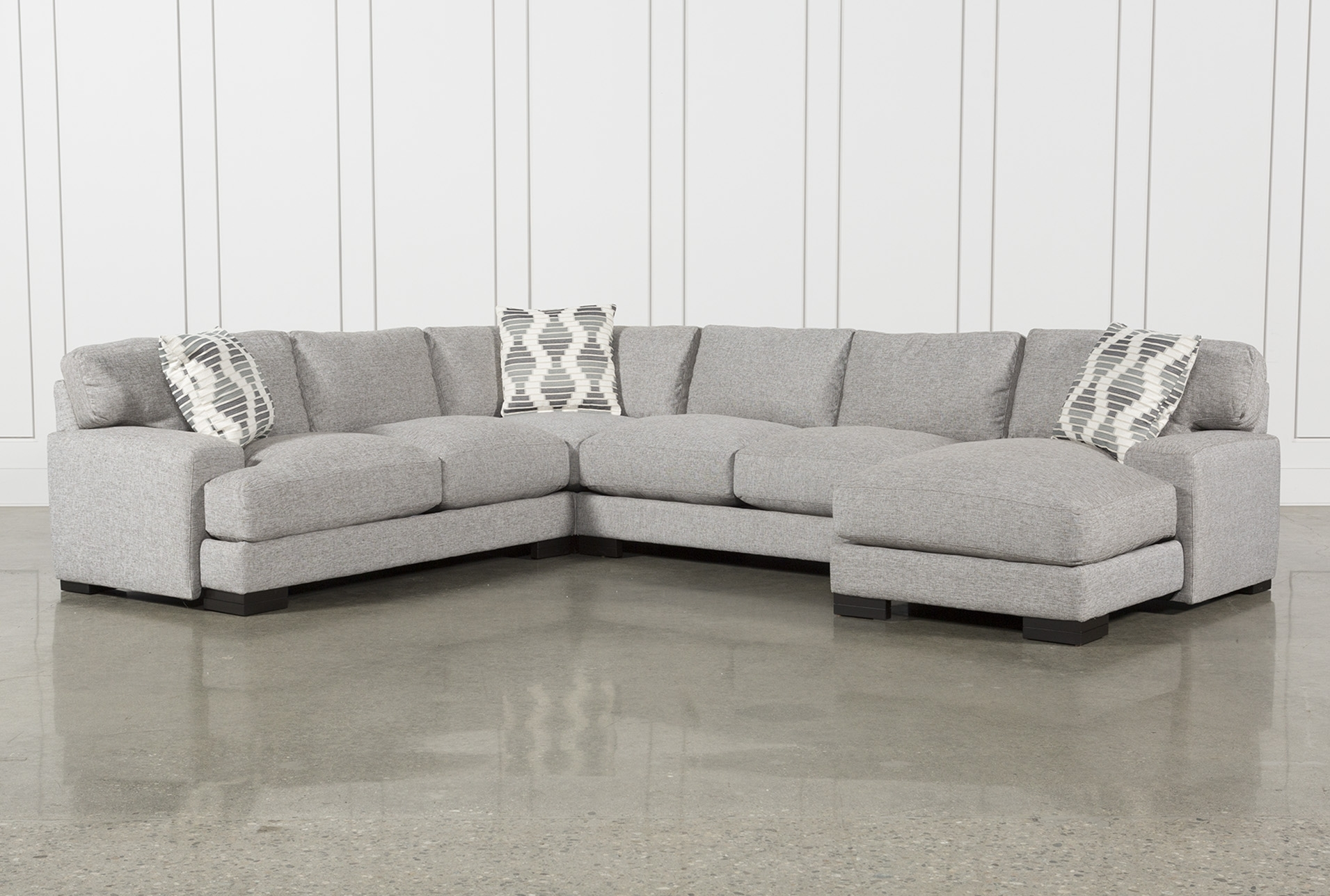 Harper Foam 3 Piece Sectional W/raf Chaise inside Aquarius Light Grey 2 Piece Sectionals With Raf Chaise (Image 15 of 30)