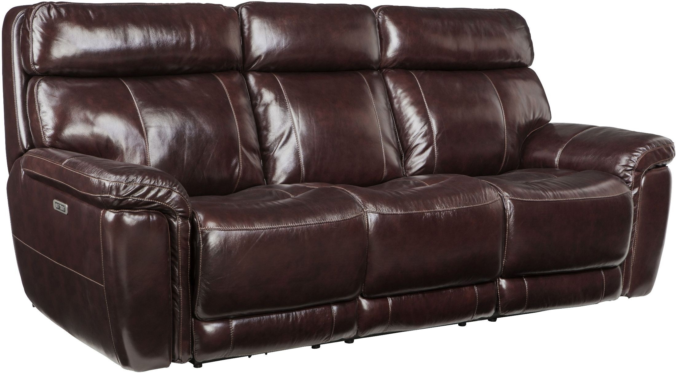 Harris Portofino Blackberry Leather Power Reclining Sofa From Simon within Denali Light Grey 6 Piece Reclining Sectionals With 2 Power Headrests (Image 15 of 30)