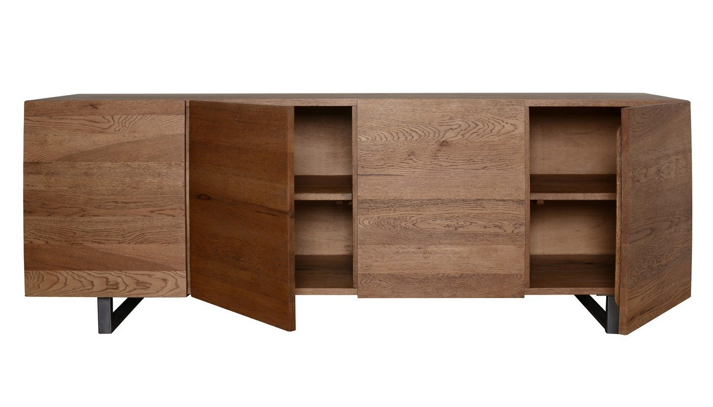 Heal's Siena 4 Door Sideboard In Antique Oak | Heal's for Vintage Brown Textured Sideboards (Image 8 of 30)