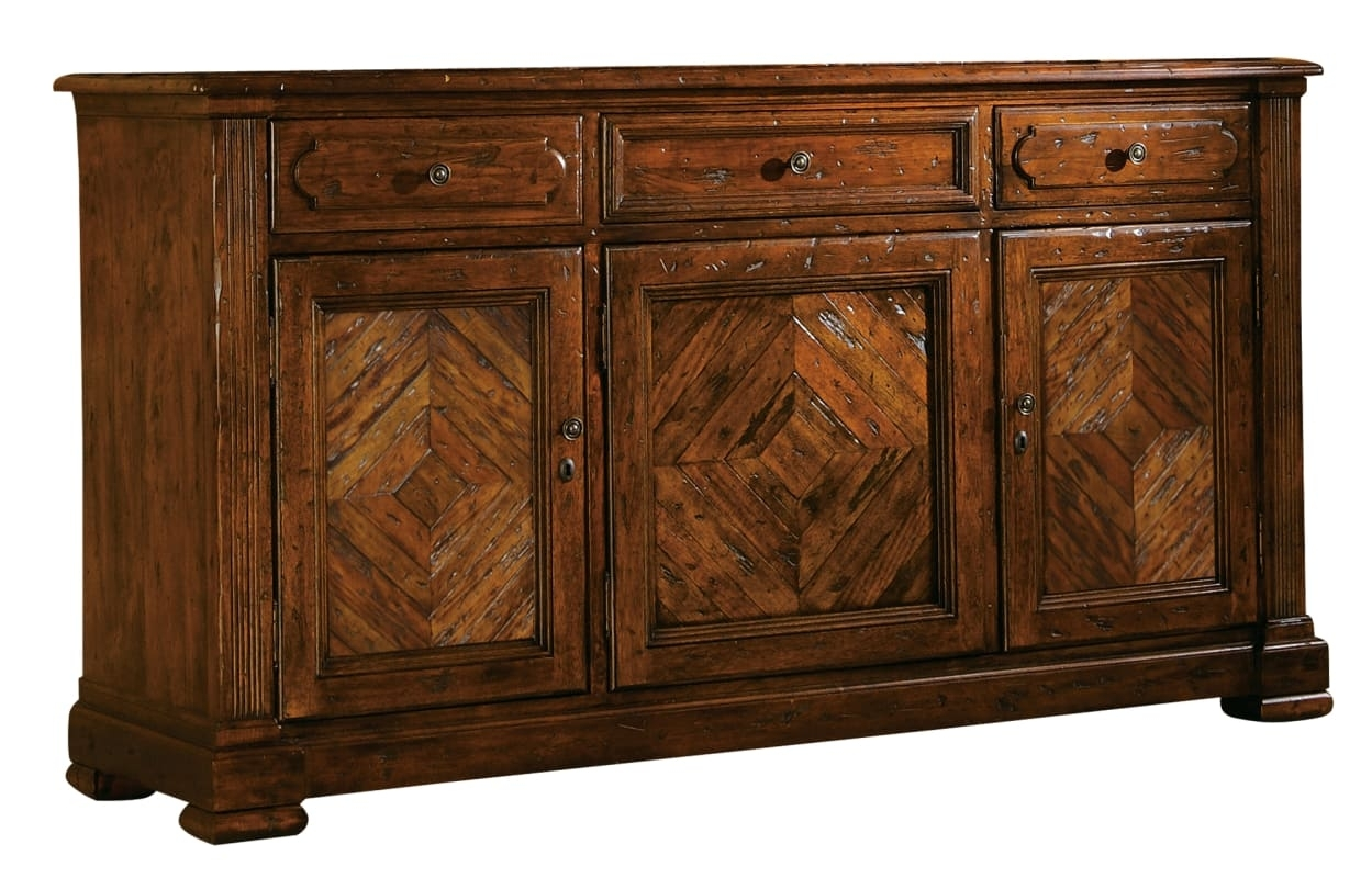 Hekman 87231 Rue De Bac 72 Inch Wide Wood Buffet With Three Drawers throughout Brown Wood 72 Inch Sideboards (Image 16 of 30)