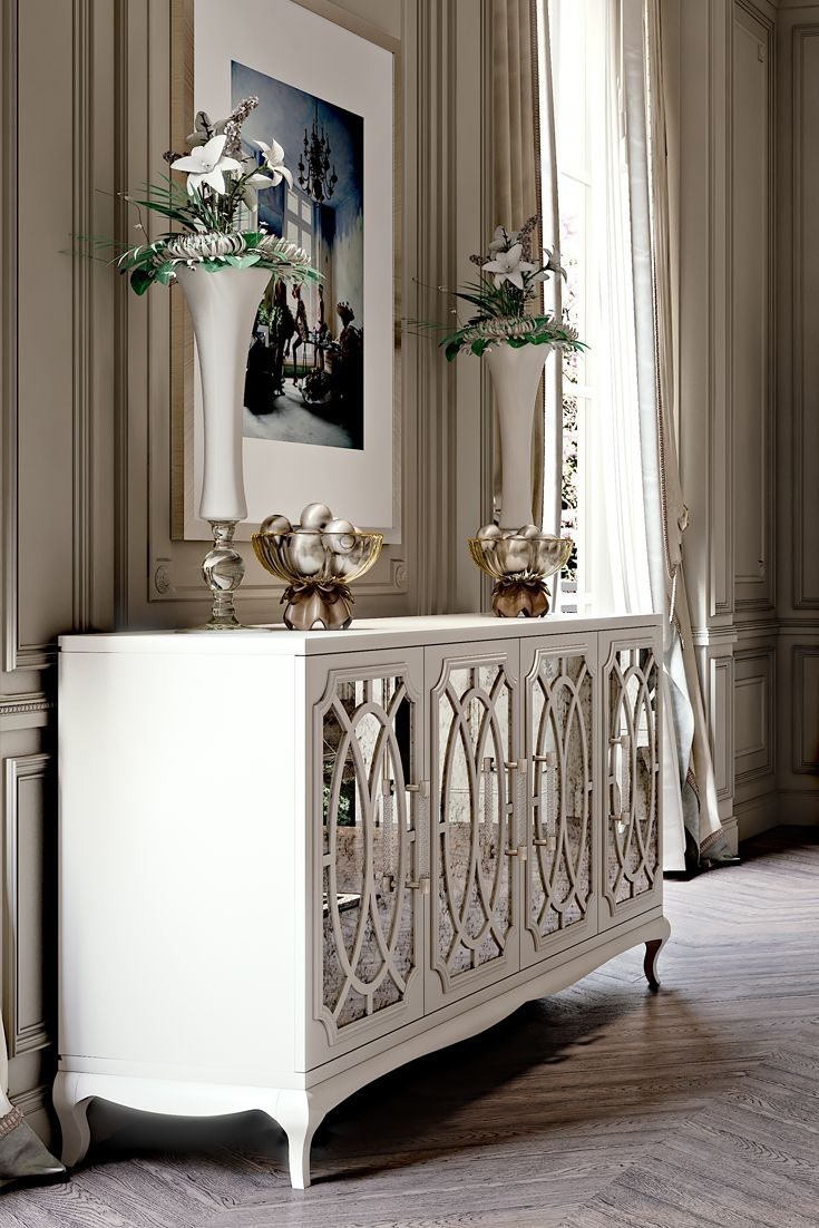 High End Italian White Fretwork Mirrored Sideboard | Glamorous in Diamond Circle Sideboards (Image 16 of 30)