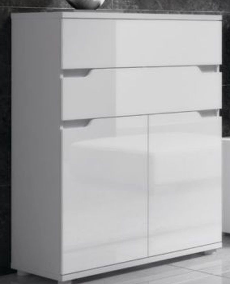High Gloss White Lounge Sideboard Cabinet Compact Storage Unit regarding Corrugated Natural 6-Door Sideboards (Image 12 of 30)