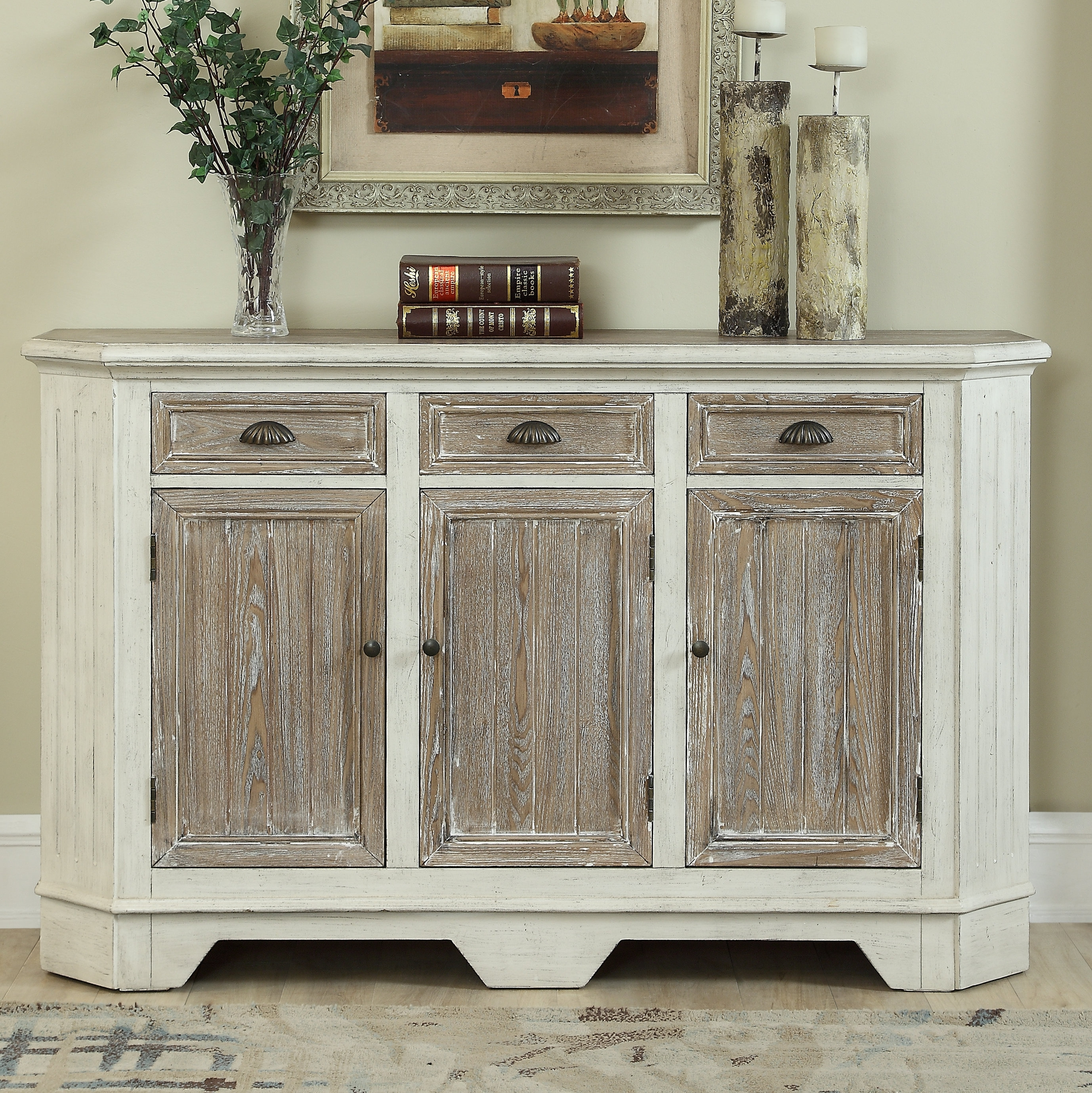 Highland Dunes Funkhouser 3 Door 3 Drawer Sideboard | Wayfair within 3-Door 3-Drawer Metal Inserts Sideboards (Image 11 of 30)