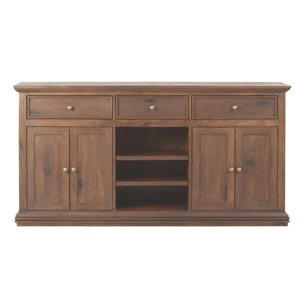 Home Decorators Collection Aldridge Antique Walnut Buffet-9415000960 inside Open Shelf Brass 4-Drawer Sideboards (Image 6 of 30)
