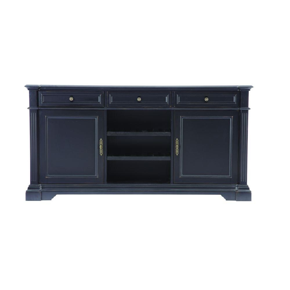 Home Decorators Collection Bufford Rubbed Black Buffet-9485000210 with regard to Walnut Finish Crown Moulding Sideboards (Image 21 of 30)