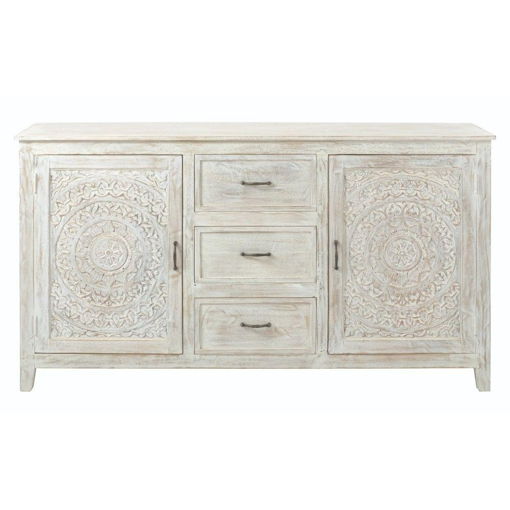 Home Decorators Collection Chennai 3 Drawer White Wash Dresser Inside 4 Door 3 Drawer White Wash Sideboards (View 8 of 30)