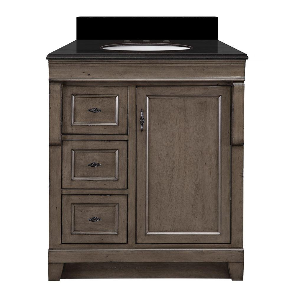 Home Decorators Collection Naples 31 In. W X 22 In. D Vanity In intended for Dark Smoked Oak With White Marble Top Sideboards (Image 11 of 30)