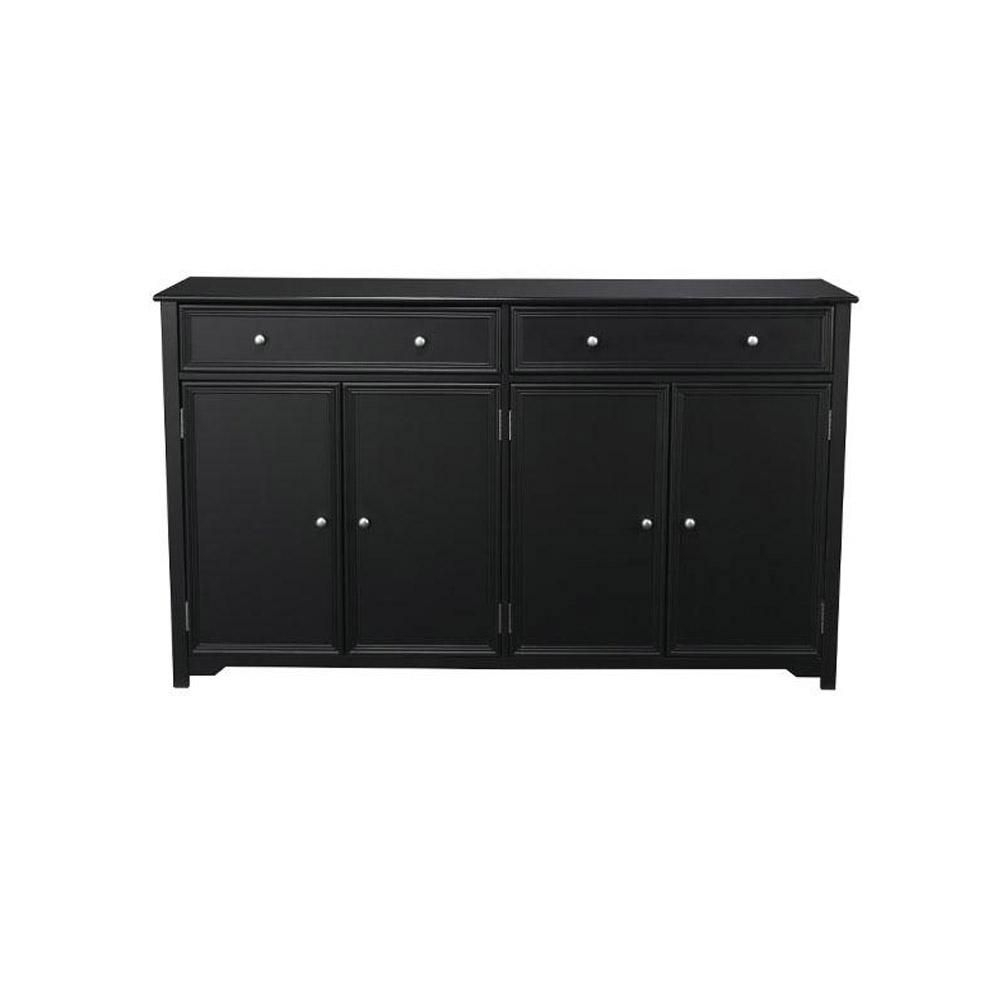 Home Decorators Collection Oxford 2-Drawer Wood In Buffet In Black for Helms Sideboards (Image 14 of 30)