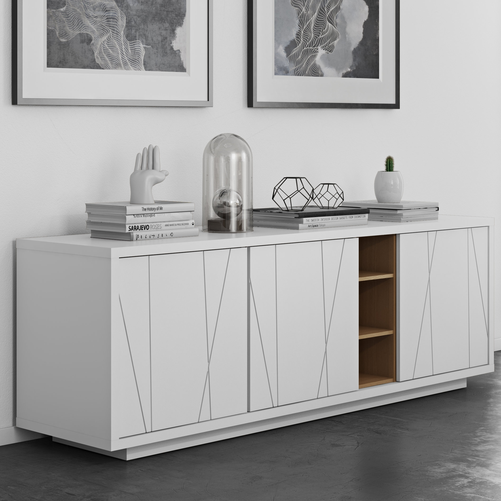 Home Etc Shannon 3 Door Sideboard | Wayfair.co.uk regarding 3-Door 3-Drawer Metal Inserts Sideboards (Image 12 of 30)