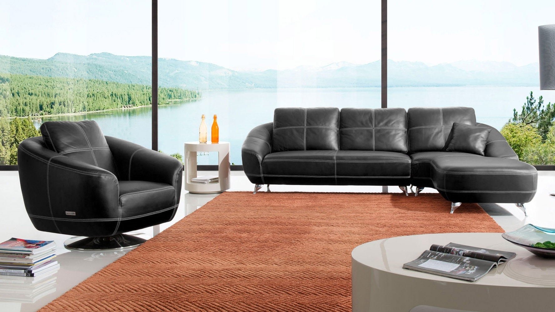 Home Lucy 2 Seater Leather Effect Sofa Bed Black - Sofa Designs throughout Lucy Dark Grey 2 Piece Sleeper Sectionals With Laf Chaise (Image 11 of 30)