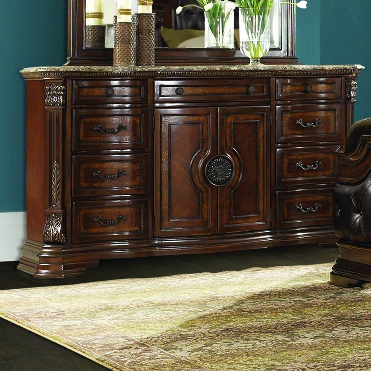 Homelegance Antoinetta 10 Drawer Combo Dresser | Wayfair in Bale Rustic Grey Sideboards (Image 15 of 30)