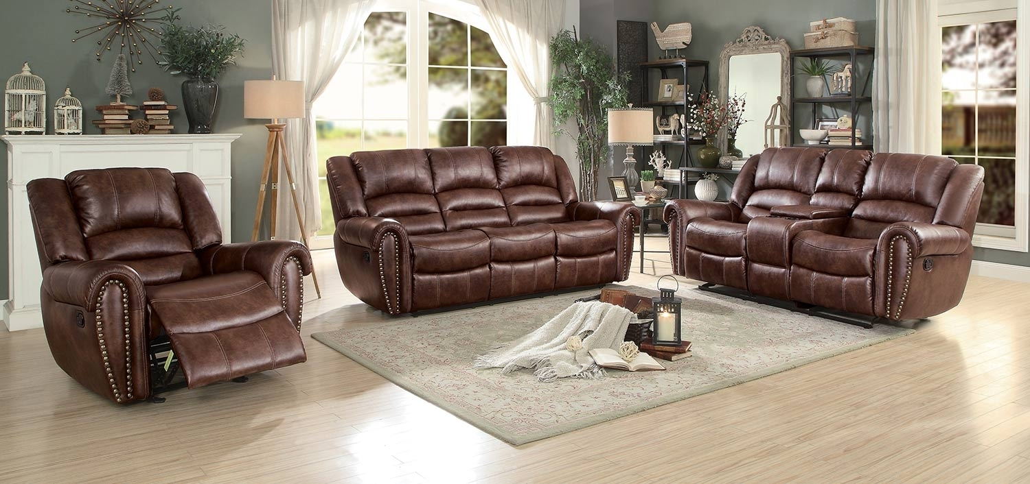 Homelegance Center Hill Reclining Sectional Set - Dark Brown 9668Nsd throughout Clyde Saddle 3 Piece Power Reclining Sectionals With Power Headrest & Usb (Image 16 of 30)