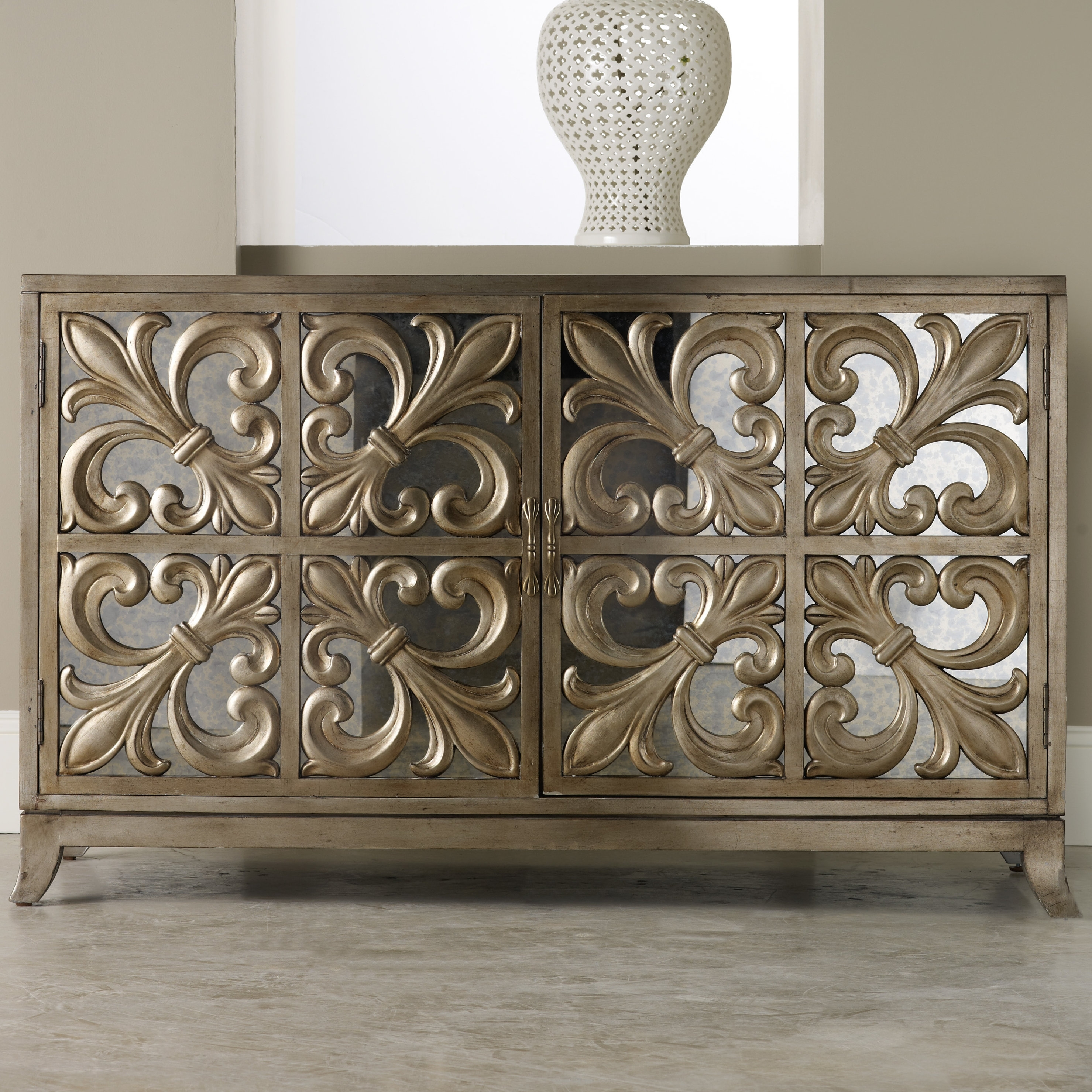 Hooker Furniture Melange Fleur-De-Lis Mirrored Sideboard & Reviews throughout 2-Door Mirror Front Sideboards (Image 14 of 30)