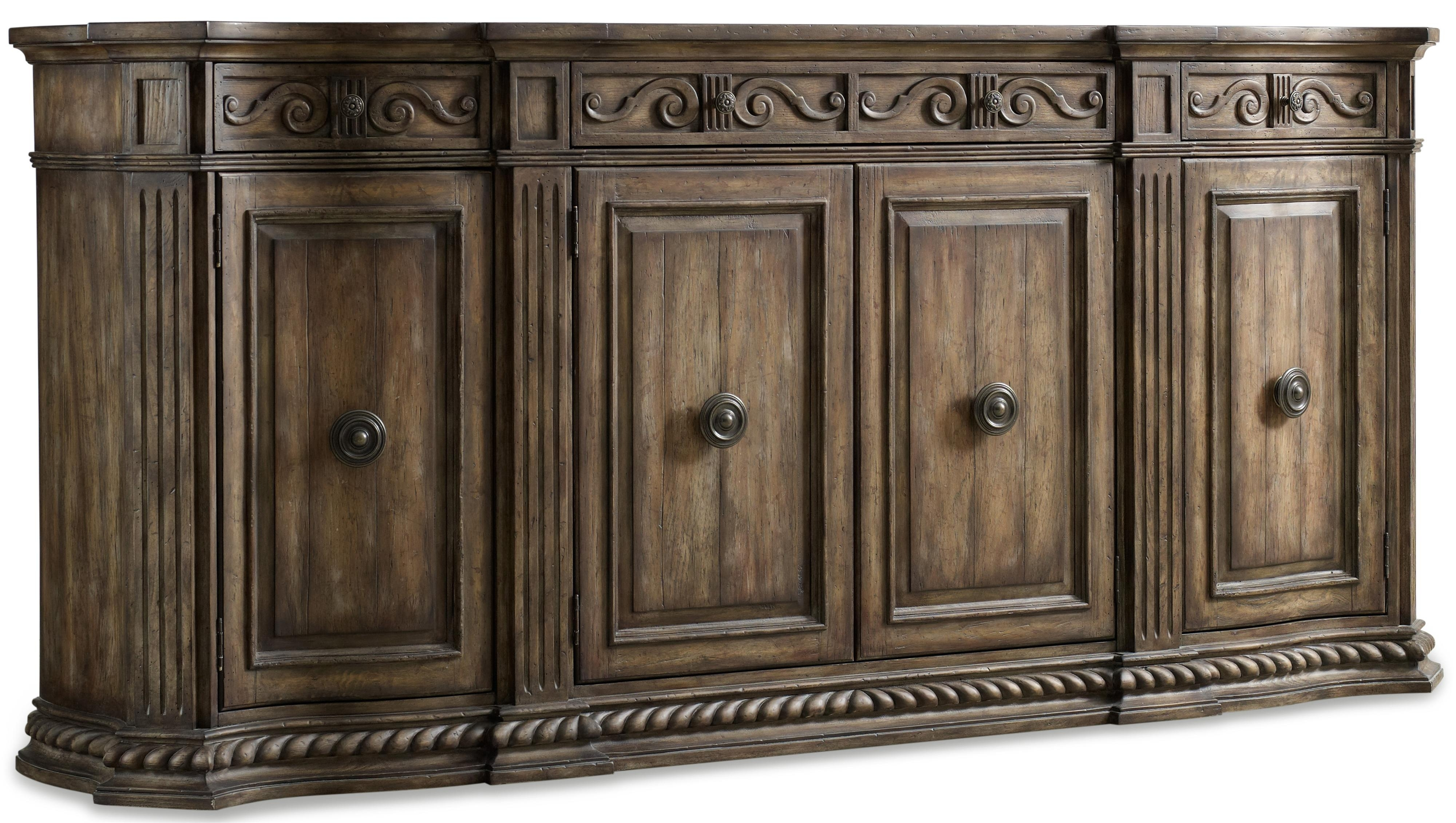 Hooker Furniture Rhapsody 5070-85002 96-Inch Credenza With Rope pertaining to Bale Rustic Grey Sideboards (Image 16 of 30)