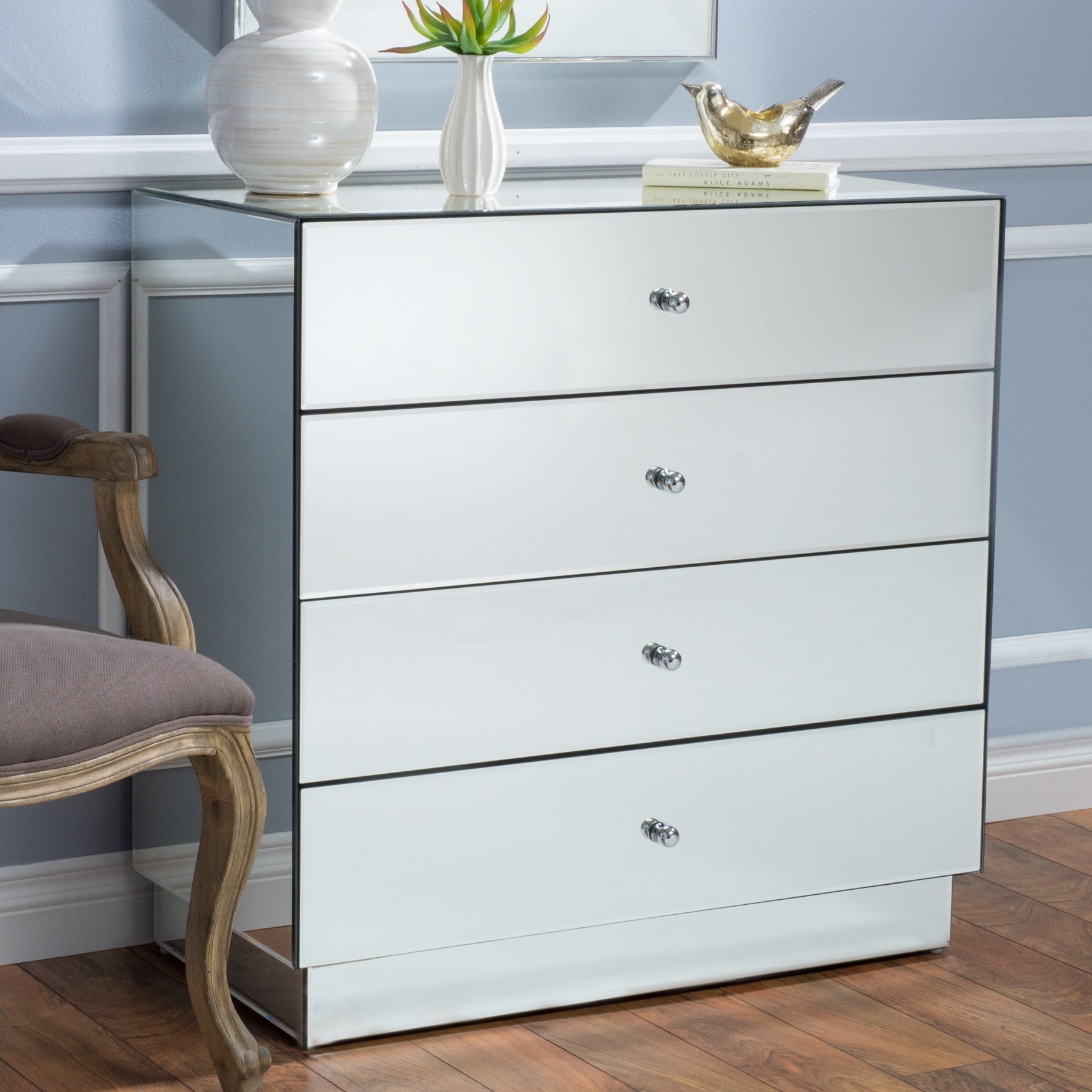 House Of Hampton Rafe 4 Drawer Mirrored Chest | Wayfair for Helms Sideboards (Image 16 of 30)