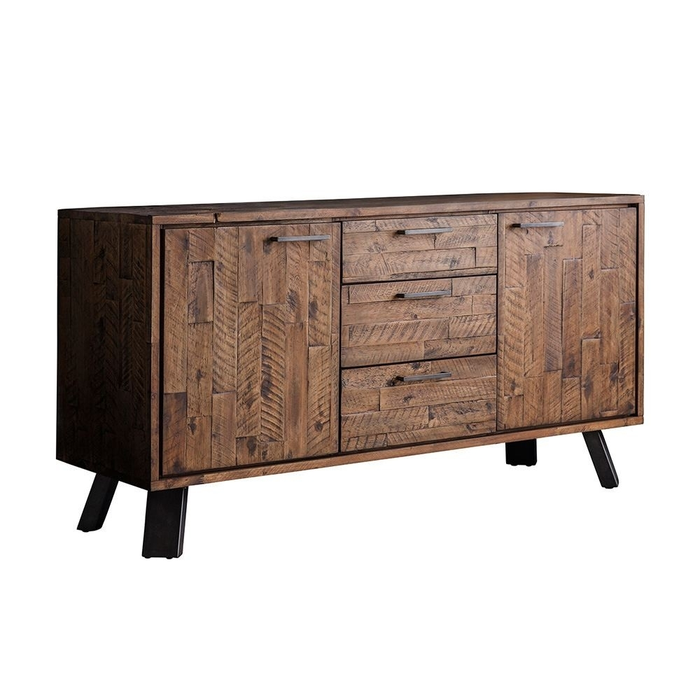 Houseology Collection Carnaby 2 Door 3 Drawer Sideboard Rustic Brown with regard to Metal Refinement 4 Door Sideboards (Image 17 of 30)
