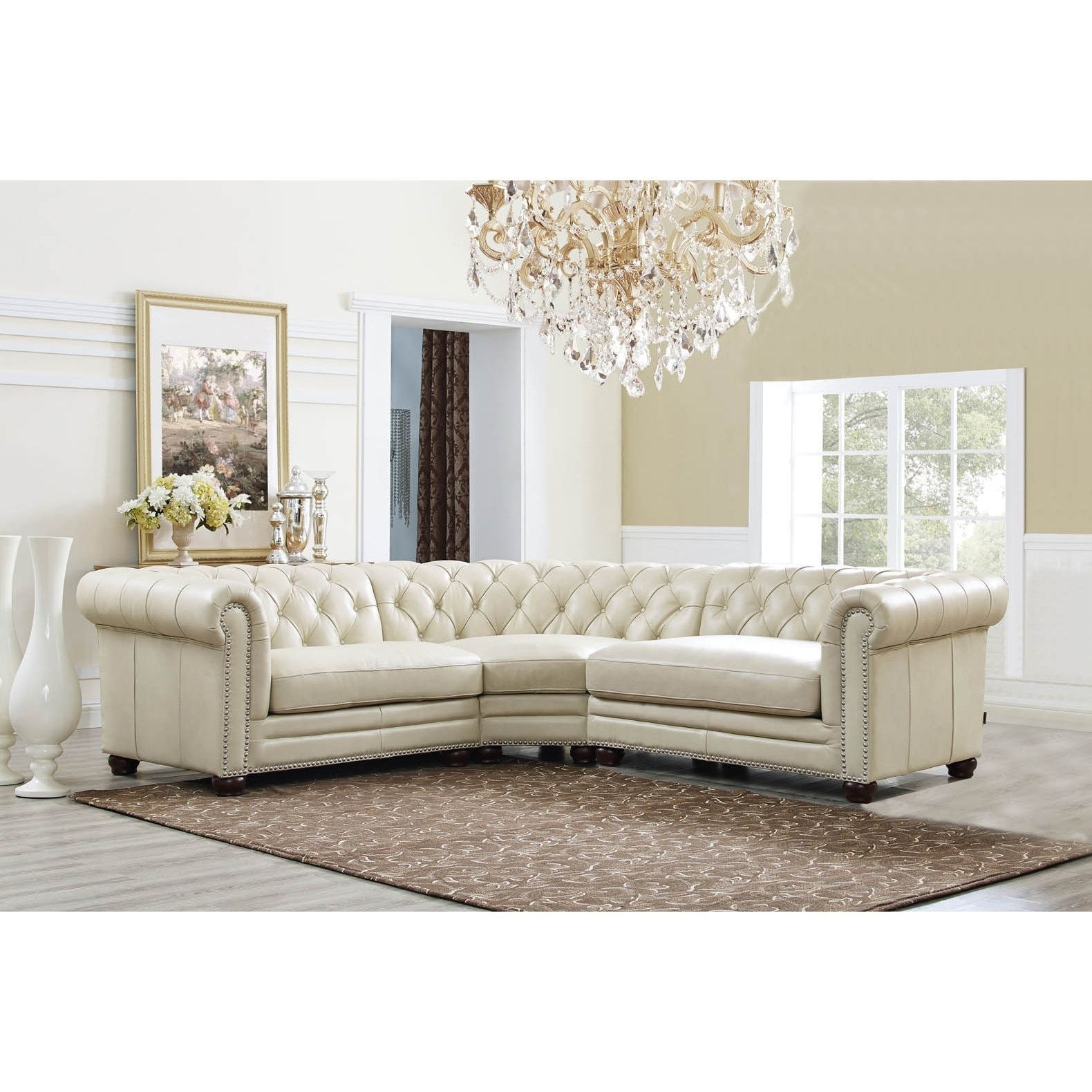 Hydelineamax Nicholson Top Grain Leather Button Tufted Nailhead inside Turdur 3 Piece Sectionals With Raf Loveseat (Image 9 of 30)