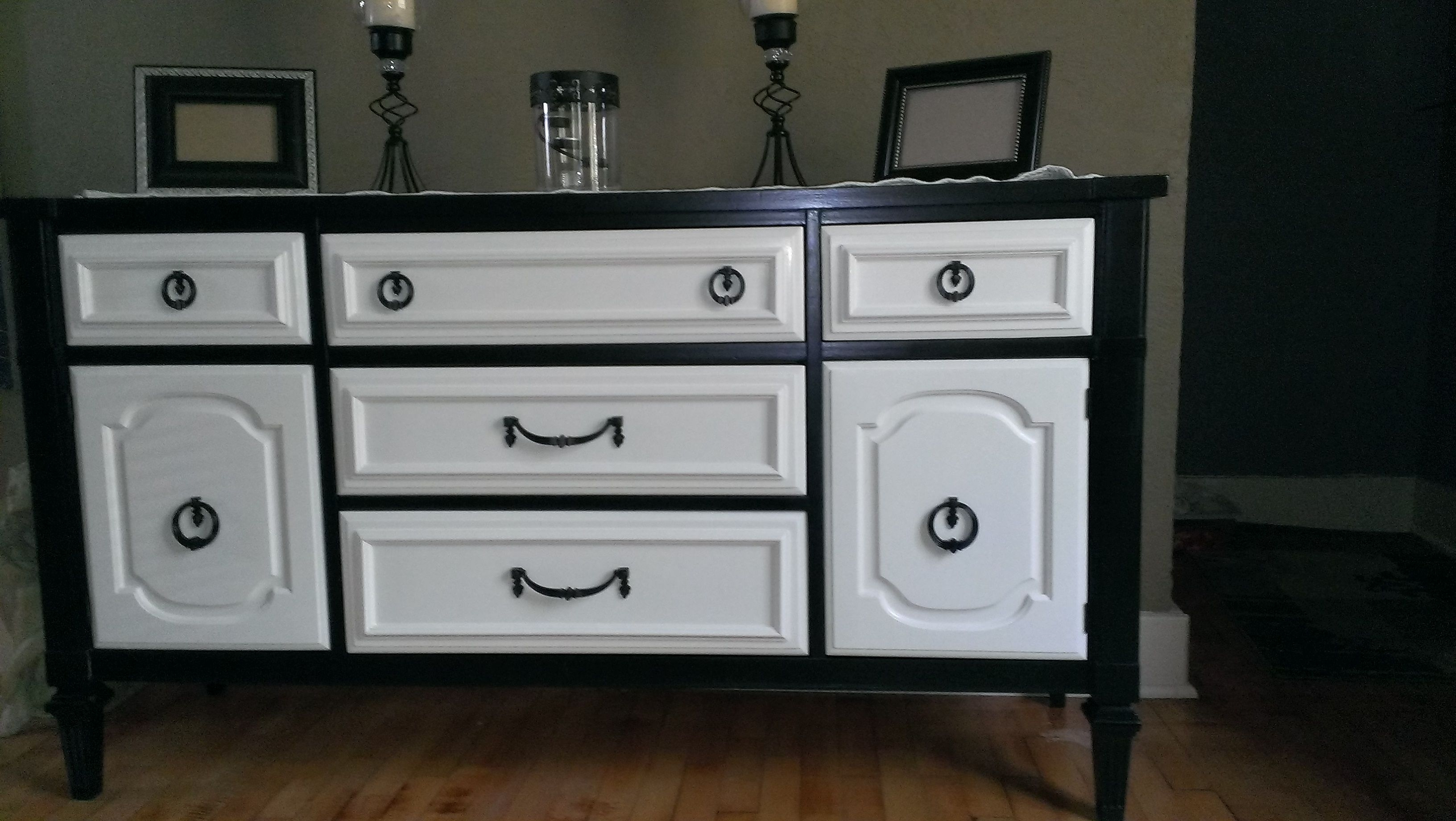 I Finally Finished My Buffet. I Bought It A Few Years Ago At A within Satin Black & Painted White Sideboards (Image 11 of 30)