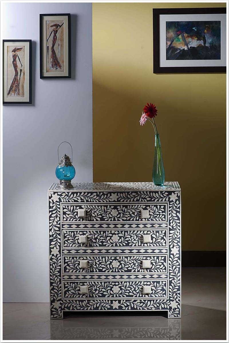 In United Arab Emirate-Dubai-Black Bone Inlay Four Drawer Chest for Geo Pattern Black And White Bone Inlay Sideboards (Image 20 of 30)