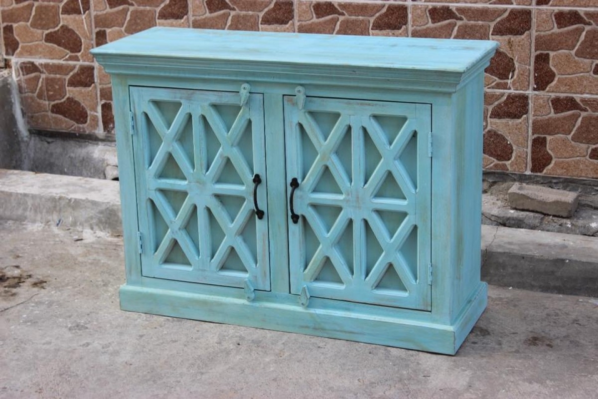 Indian Blue Wash Vanity Sideboard | Furniture Australia | Shikara Design inside White Wash Carved Door Jumbo Sideboards (Image 11 of 30)