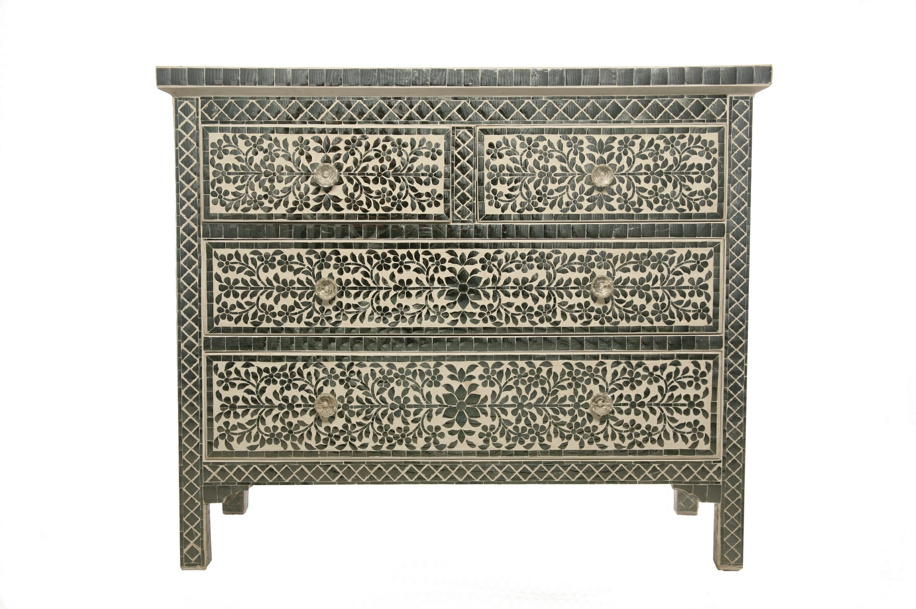 Indian Bone Inlay Furniture For Sale | Iris Furnishing Ltd with Geo Pattern Black And White Bone Inlay Sideboards (Image 21 of 30)