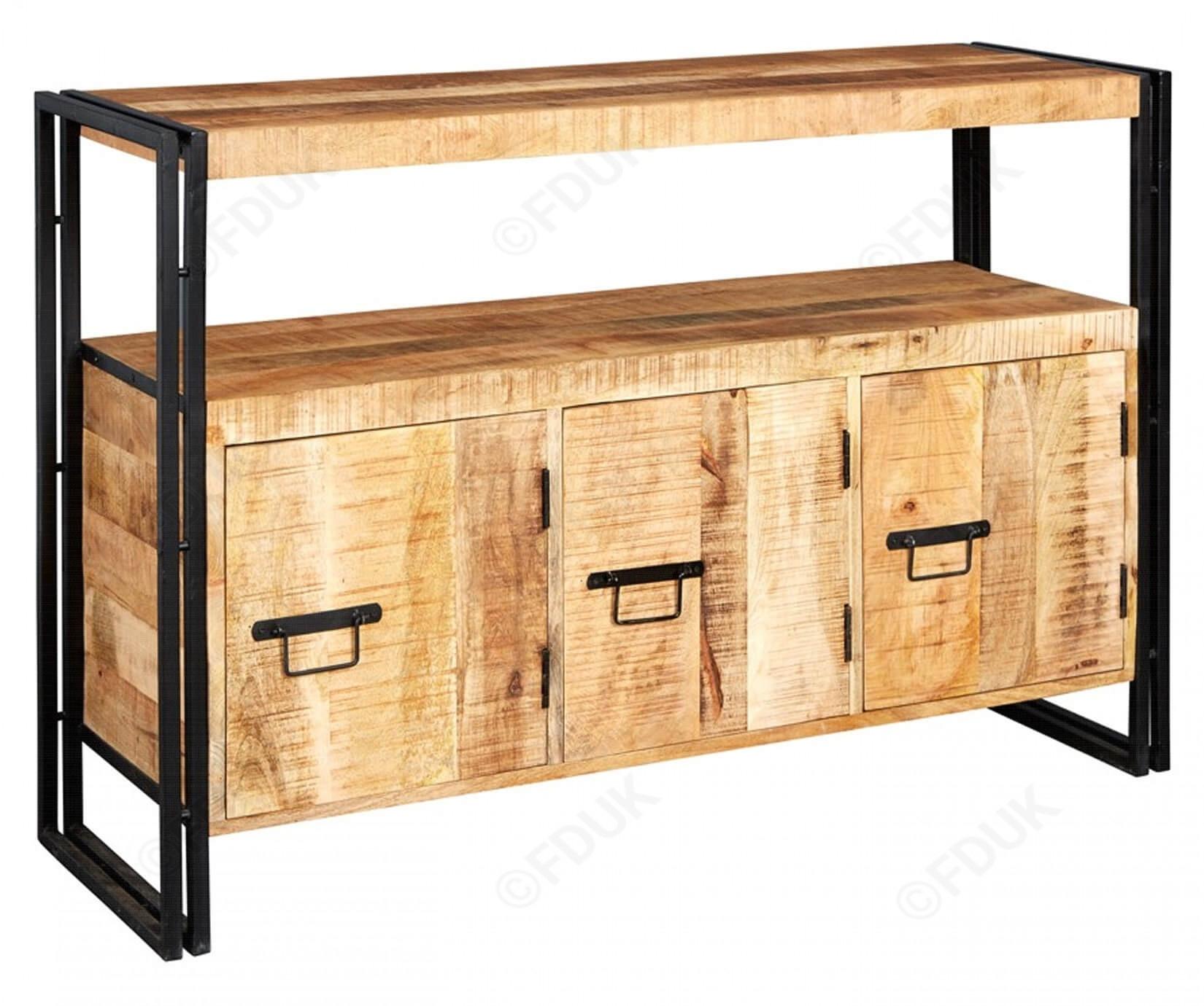 Indian Hub Cosmo | Industrial Large 3 Door Sideboard in Industrial 3 Drawer 3 Door Sideboards (Image 15 of 30)