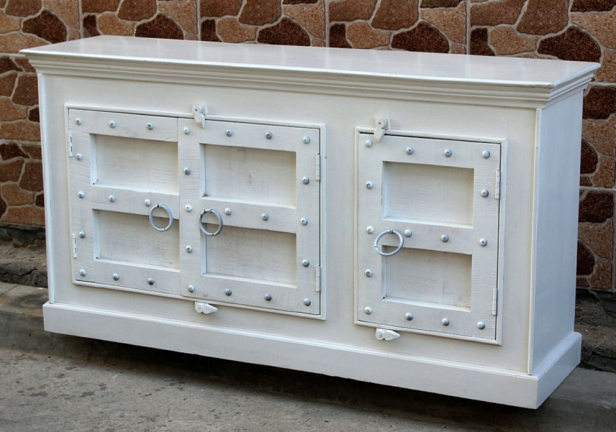 Indian White Old Door Sideboard 3 Door | Furniture Australia inside White Wash Carved Door Jumbo Sideboards (Image 12 of 30)