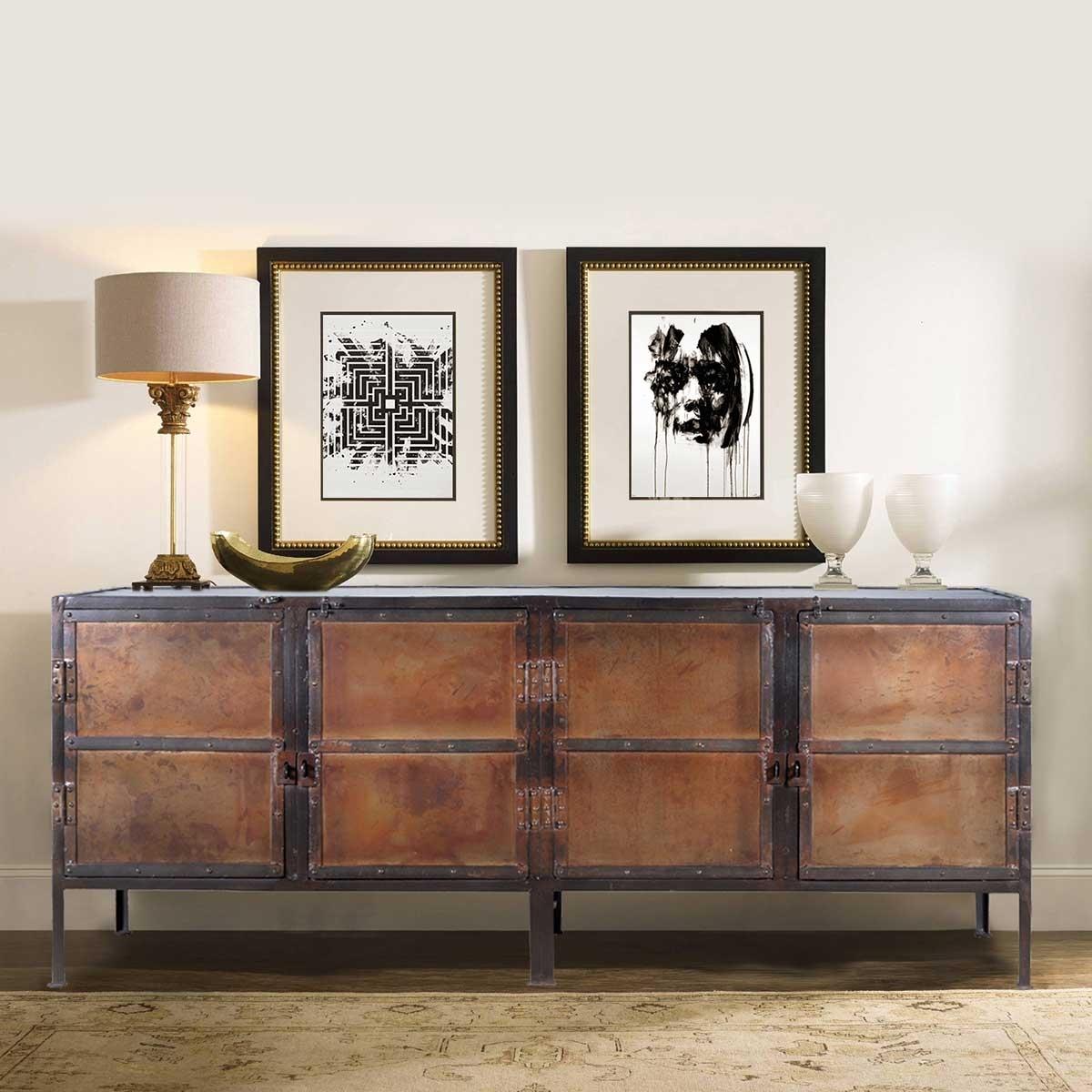 Industrial Black And Brown Iron 4 Door Large Sideboard Cabinet With Industrial 3 Drawer 3 Door Sideboards (View 16 of 30)