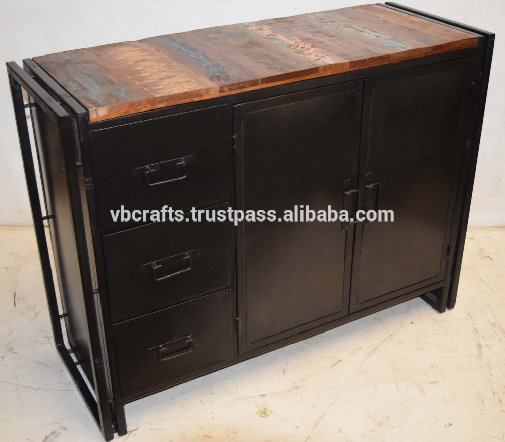 Industrial Metal Sideboard With Recycled Wood Sideboard – Buy Inside Corrugated Natural 4 Drawer Sideboards (View 12 of 30)