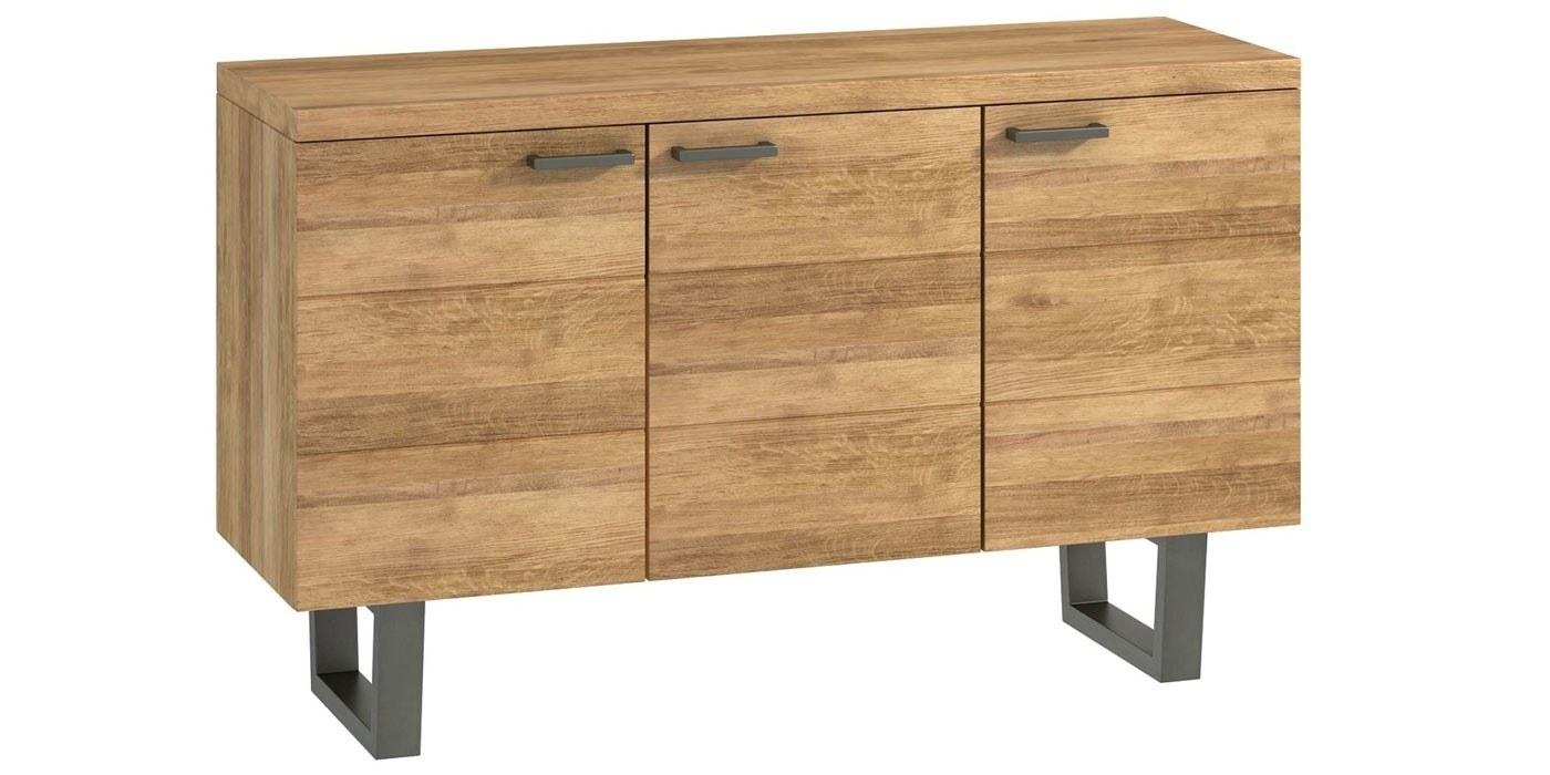 Industrial Oak 3 Door Sideboard | Furniture Plus Online within Industrial 3 Drawer 3 Door Sideboards (Image 17 of 30)