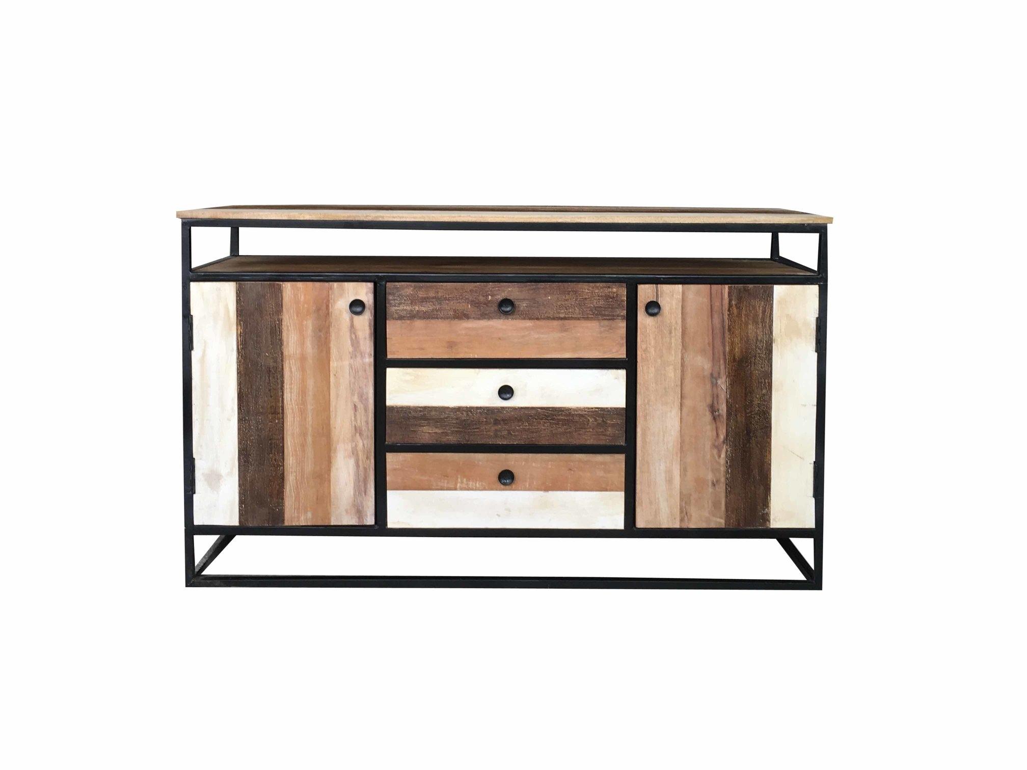 Industrial Reclaimed Mango Wood 2-Door 3-Drawer Sideboard With Metal intended for Metal Framed Reclaimed Wood Sideboards (Image 12 of 30)