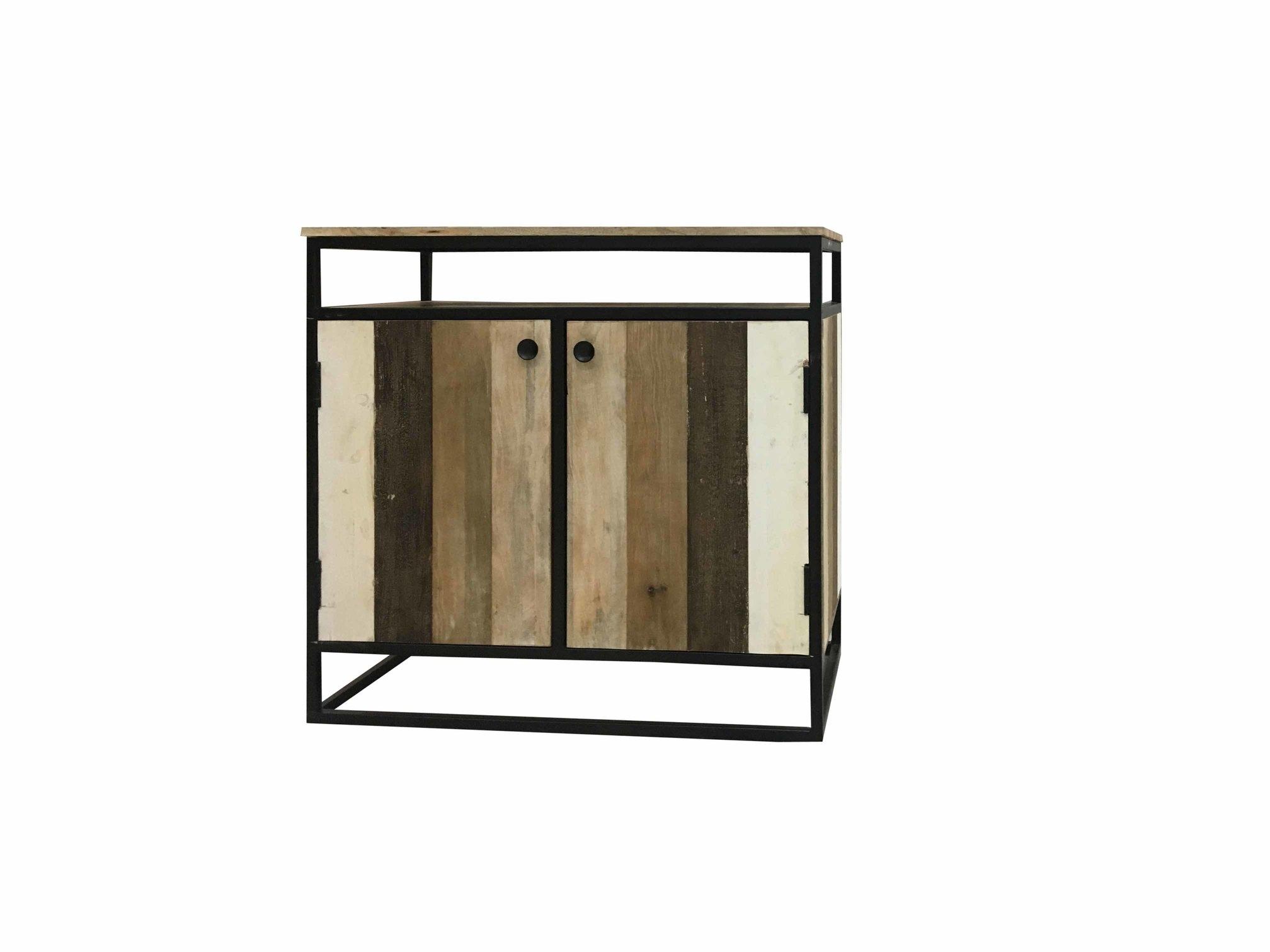 Industrial Reclaimed Mango Wood 2-Door Sideboard With Metal Frame intended for Metal Framed Reclaimed Wood Sideboards (Image 13 of 30)