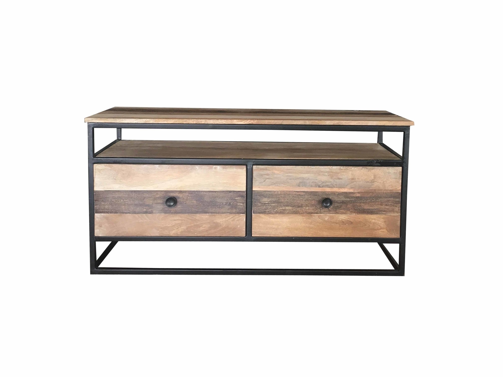 Industrial Reclaimed Mango Wood Tv Stand/media Unit/coffee Table Inside Metal Framed Reclaimed Wood Sideboards (View 17 of 30)