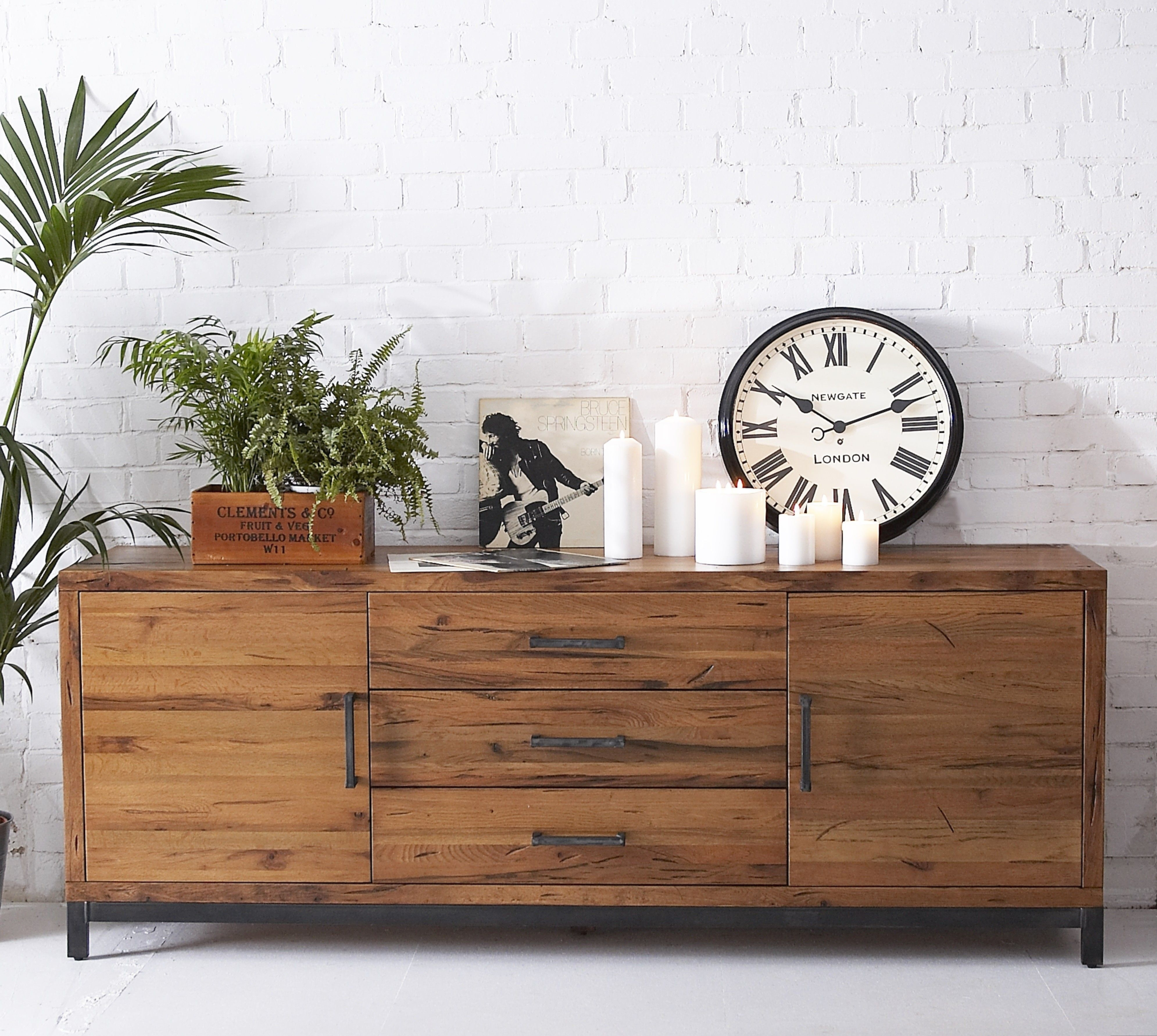 Industrial Reclaimed Solid Oak Large Sideboard | Furniture4Yourhome for Reclaimed Pine Turquoise 4-Door Sideboards (Image 12 of 30)
