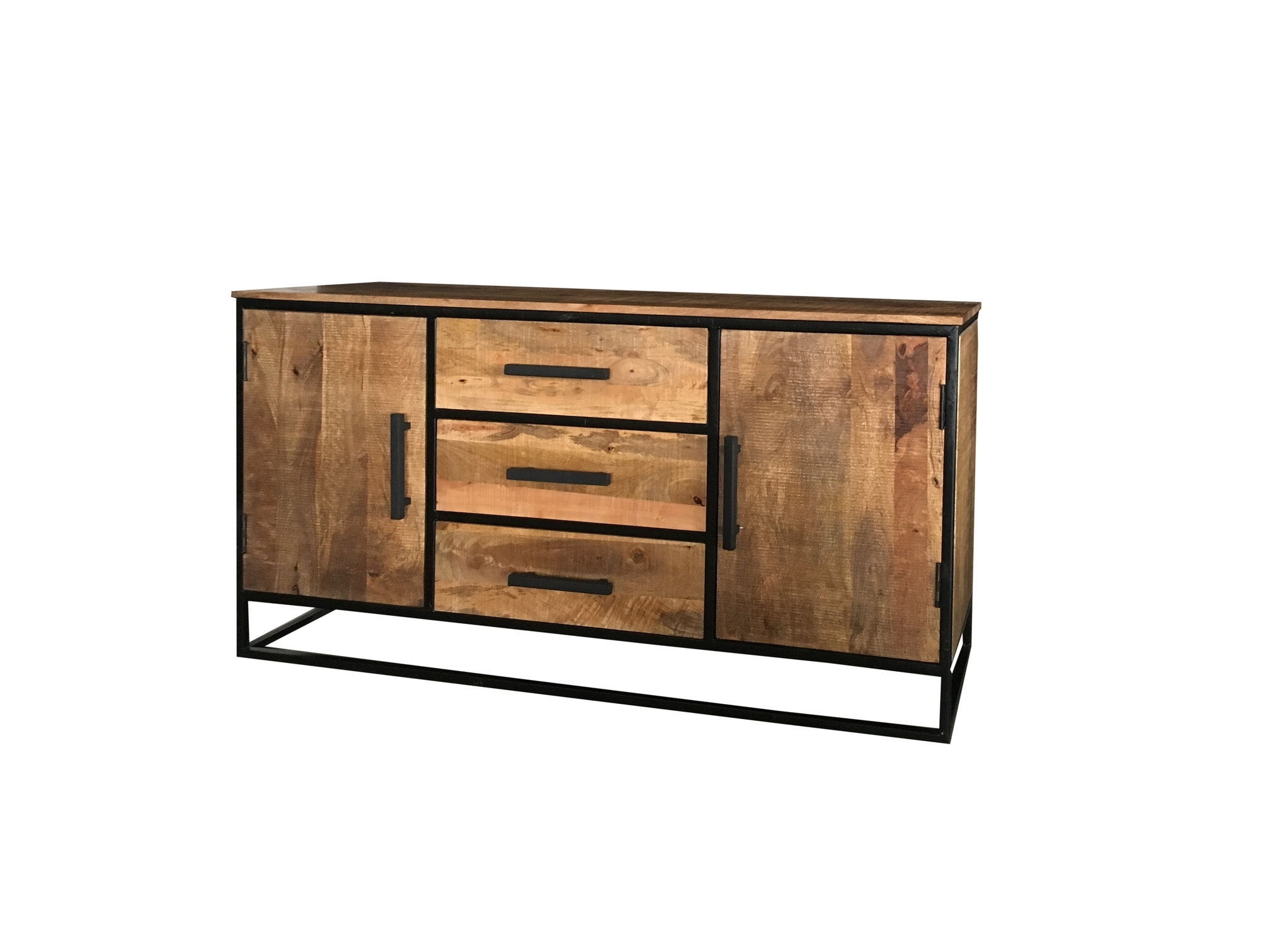 Industrial Style Light Mango Wood 2-Door 3-Drawer Sideboard With within Industrial 3 Drawer 3 Door Sideboards (Image 19 of 30)