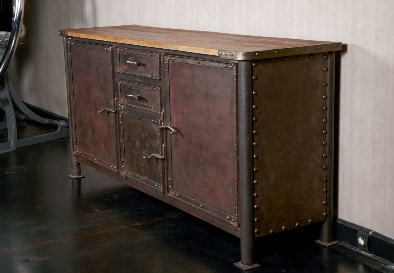 Iron And Oak Industrial Buffet | Furniture Storage, Buffet And With Iron Sideboards (View 16 of 30)