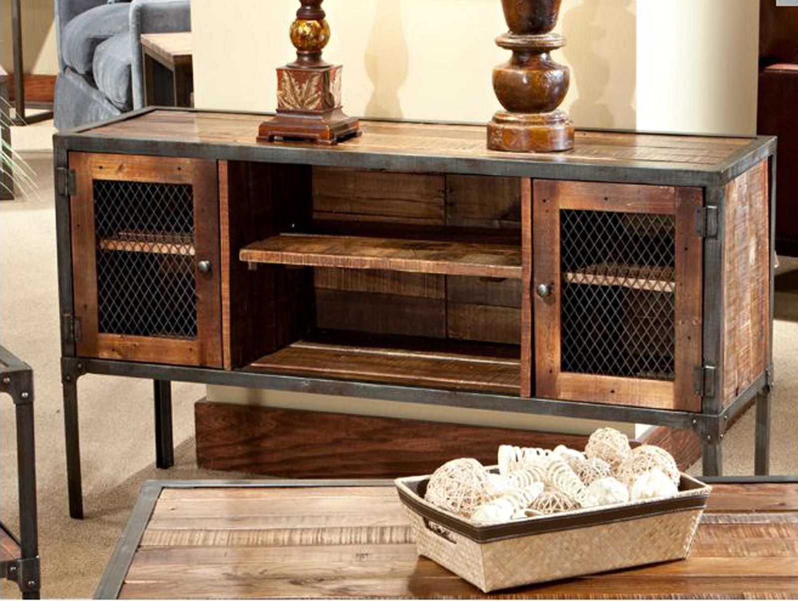 Iron Reclaimed Wood Entertainment Center   Rustic Industrial inside Light Brown Reclaimed Elm & Pine 84 Inch Sideboards (Image 14 of 30)