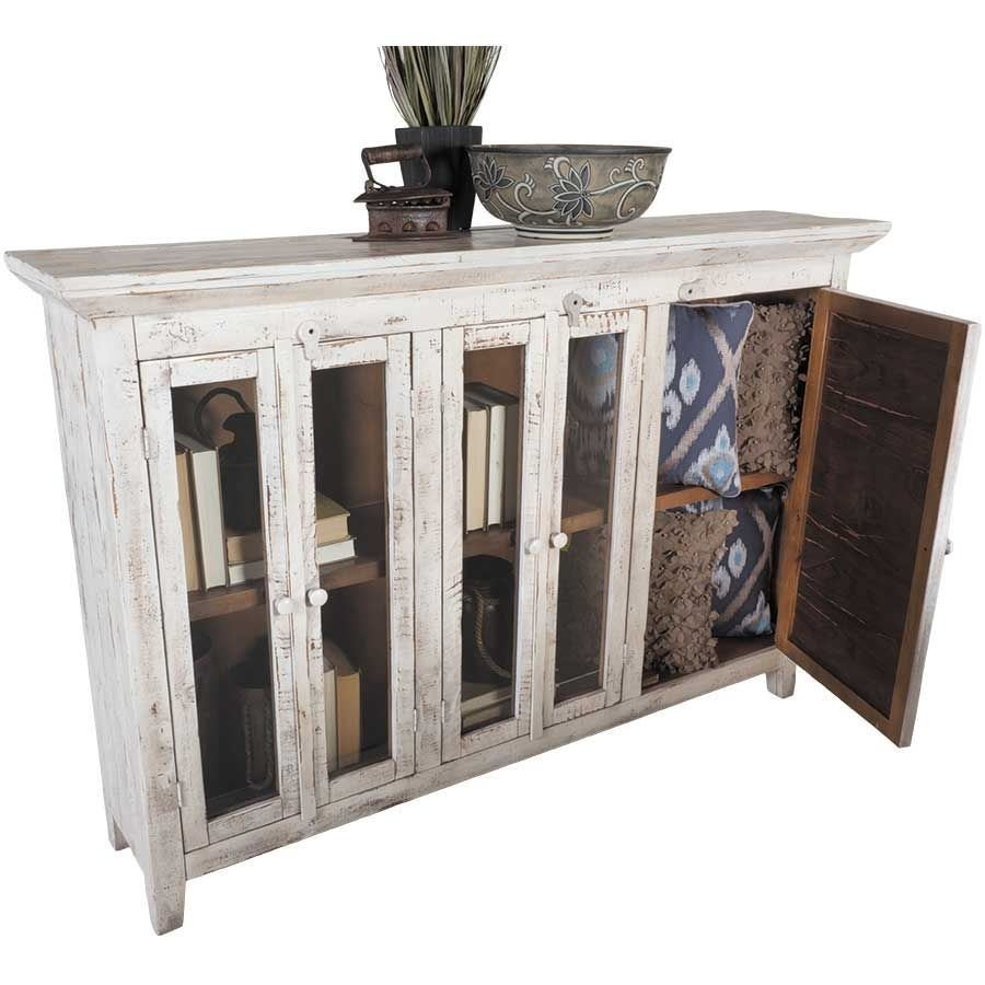 "Isabella 72"" Vintage White Door Console 
