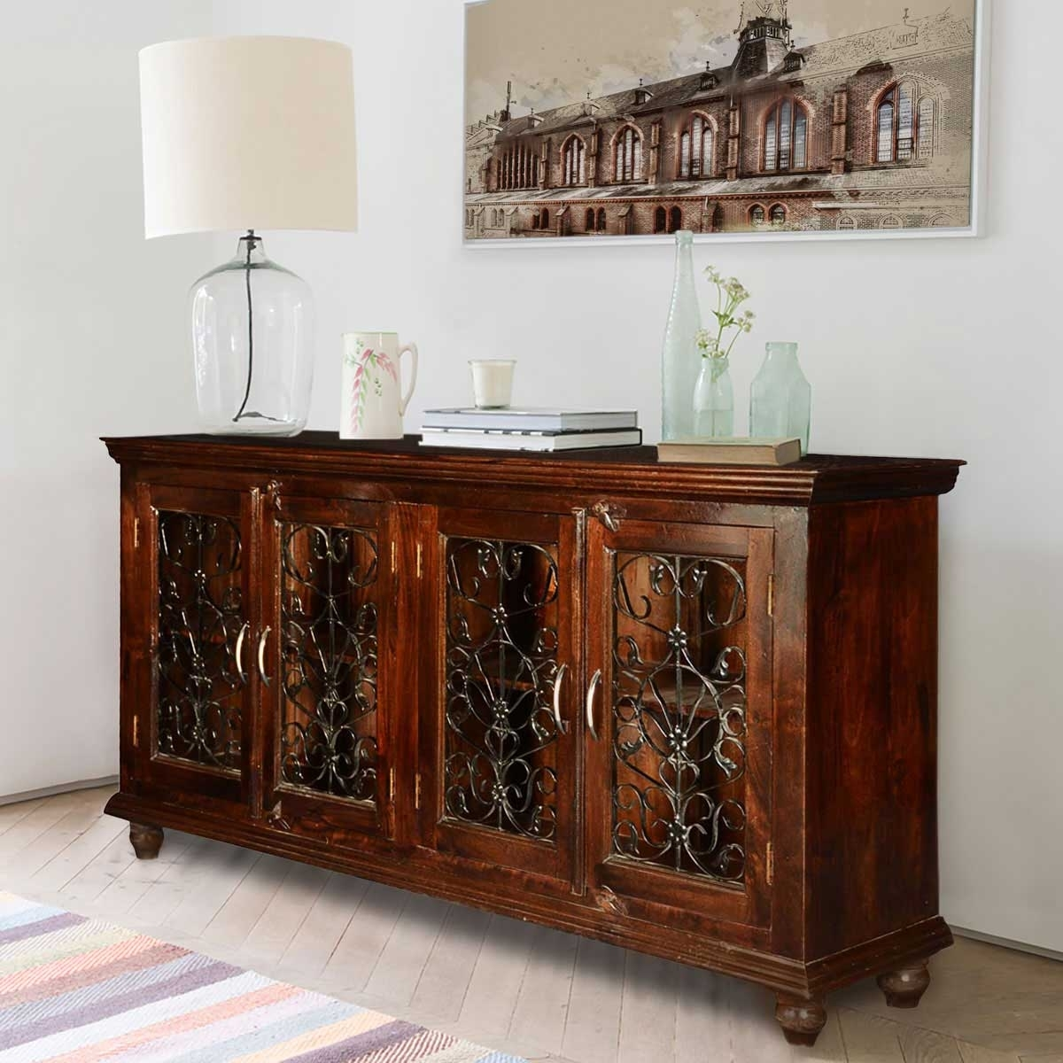 Italian Classic Mango Wood Iron Grille Door Large Buffet Cabinet for Metal Framed Reclaimed Wood Sideboards (Image 15 of 30)