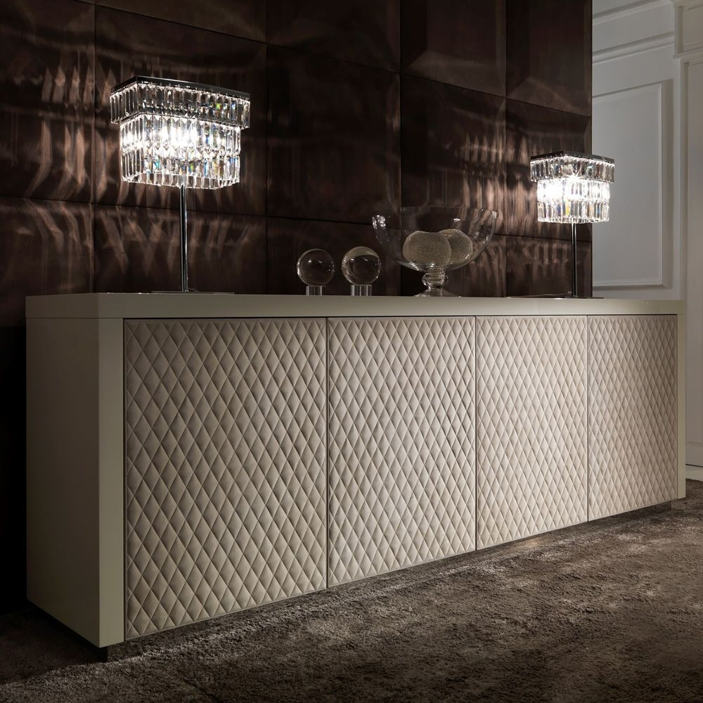 Italian Designer Lacquered Quilted Leather Sideboard | Love Things intended for Gunmetal Perforated Brass Sideboards (Image 23 of 30)