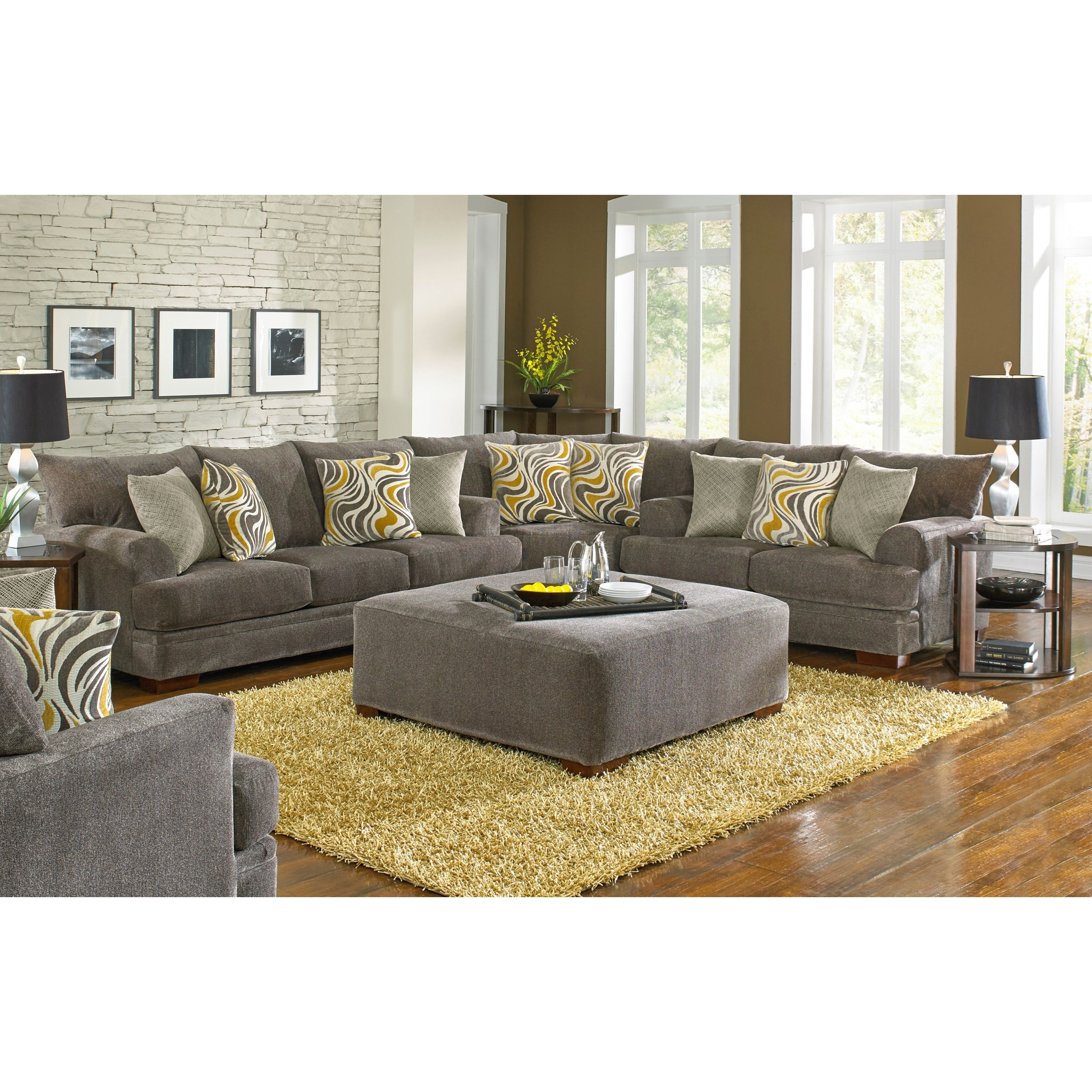 Jackson Furniture Crompton Sectional Sofa With Casual Style in Jackson 6 Piece Power Reclining Sectionals (Image 15 of 30)