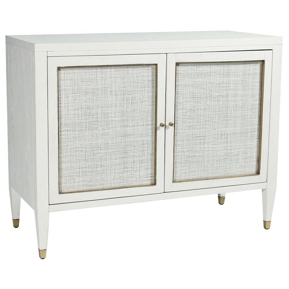 Jaden Modern Classic White Rattan Brass 2 Door Bar Cabinet Buffet for Square Brass 4 Door Sideboards (Image 17 of 30)