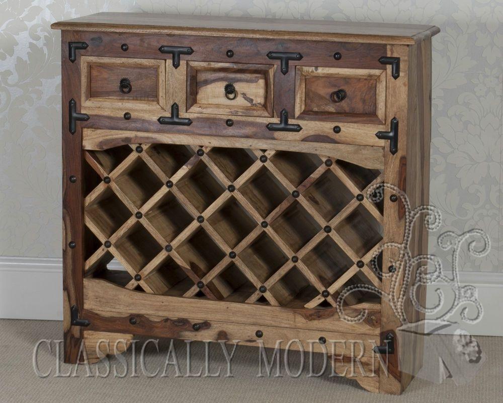Jali Solid Sheesham Rosewood 3 Drawer Wine Cabinet / Sideboard in Reclaimed 3 Drawer Icebox Sideboards (Image 13 of 30)