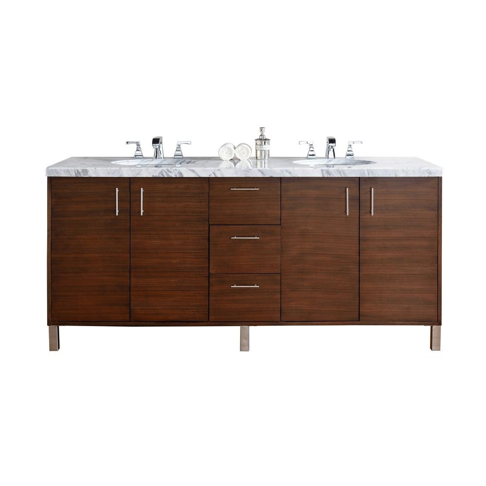 James Martin Signature Vanities Metropolitan 72 In. W Double Vanity pertaining to Dark Smoked Oak With White Marble Top Sideboards (Image 12 of 30)