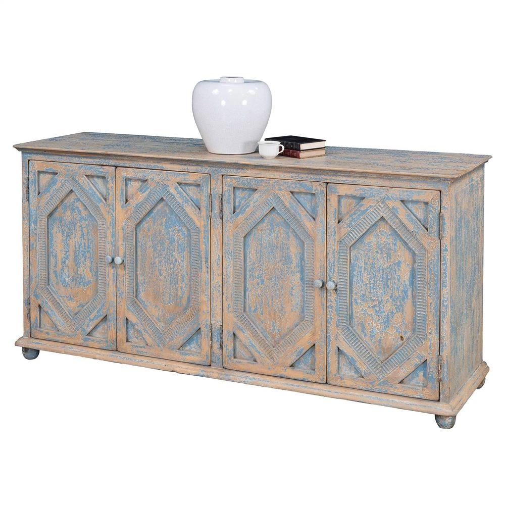 Janvier French Country Rustic Blue And White Wood Buffet Sideboard with Blue Stone Light Rustic Black Sideboards (Image 16 of 30)