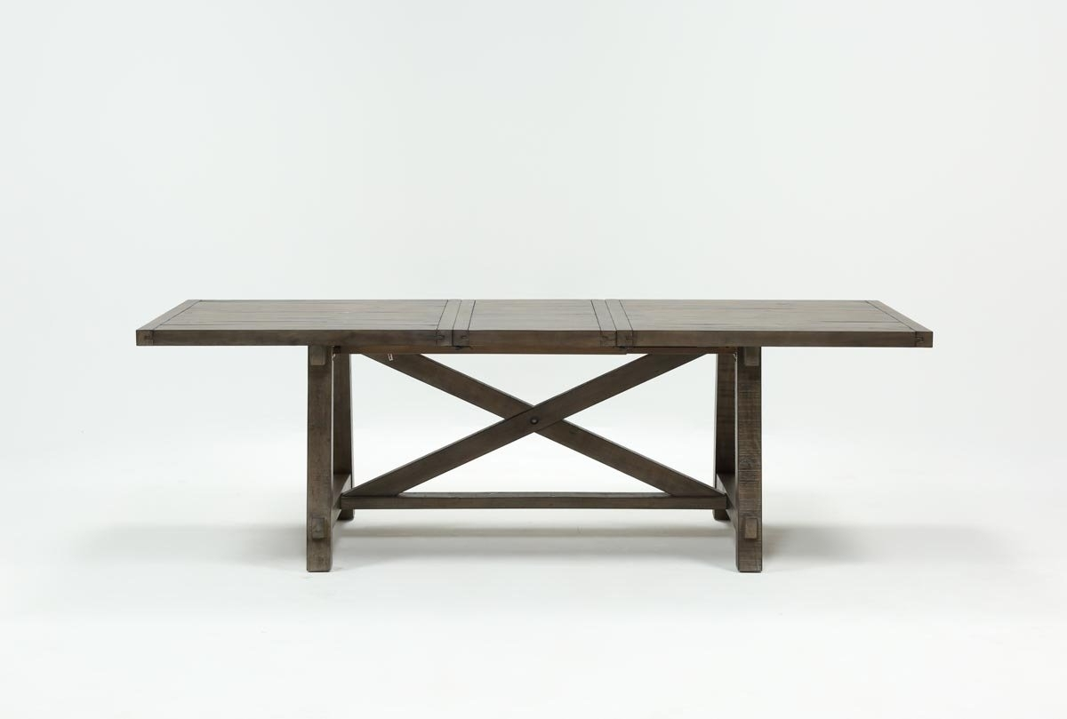 Jaxon Grey Rectangle Extension Dining Table | Living Spaces in Jaxon Grey Sideboards (Image 12 of 30)