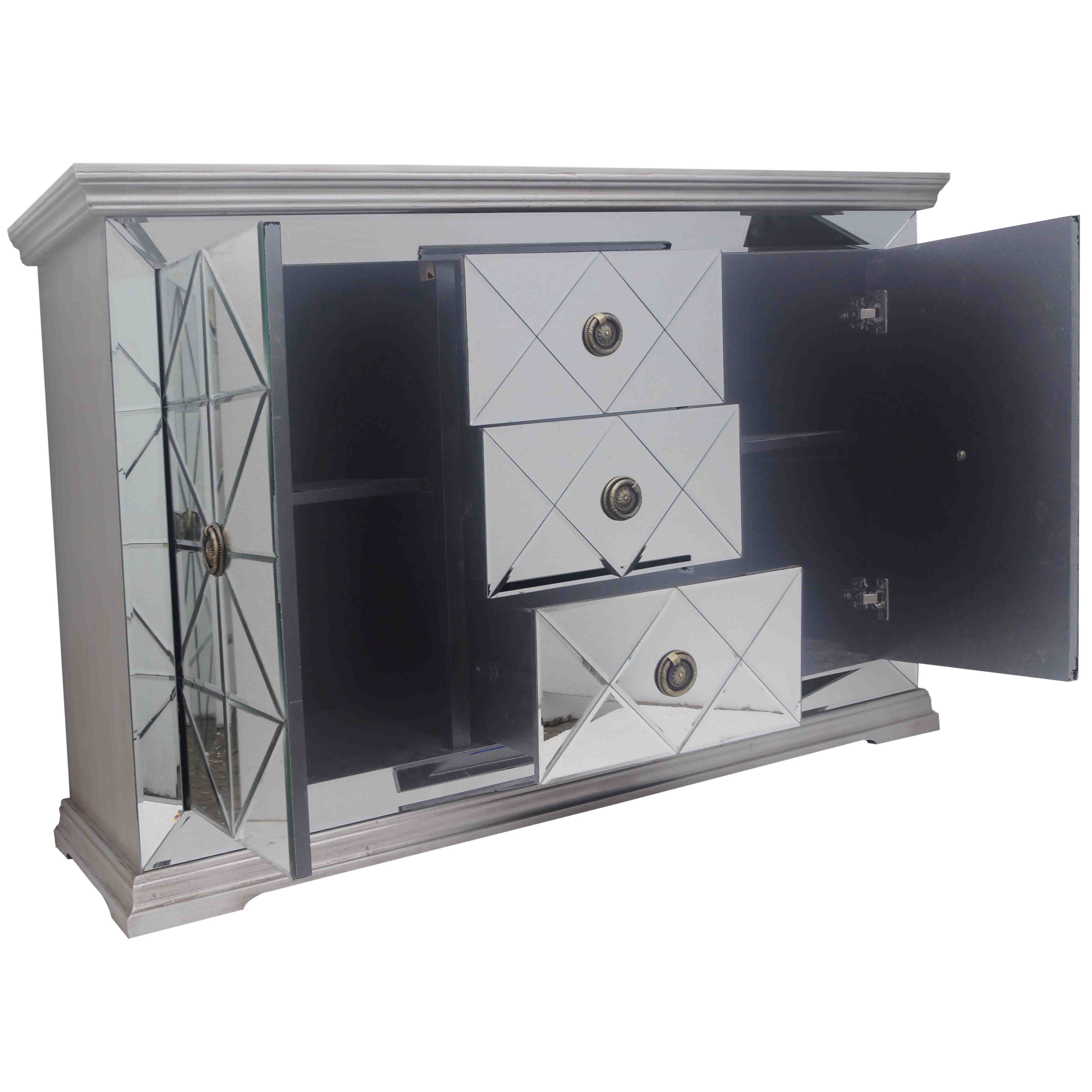 Jaxon Mirrored Sideboard 3 Drawers + 2 Doors - Boulevard Urban Living for Jaxon Sideboards (Image 10 of 30)