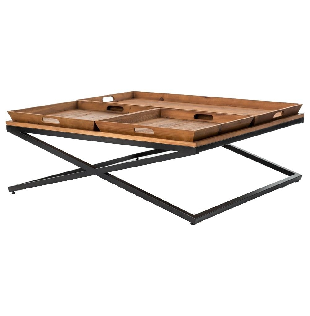 Jaxon Trio Tray Top Wood Iron Industrial Square Coffee Table inside Jaxon Sideboards (Image 16 of 30)