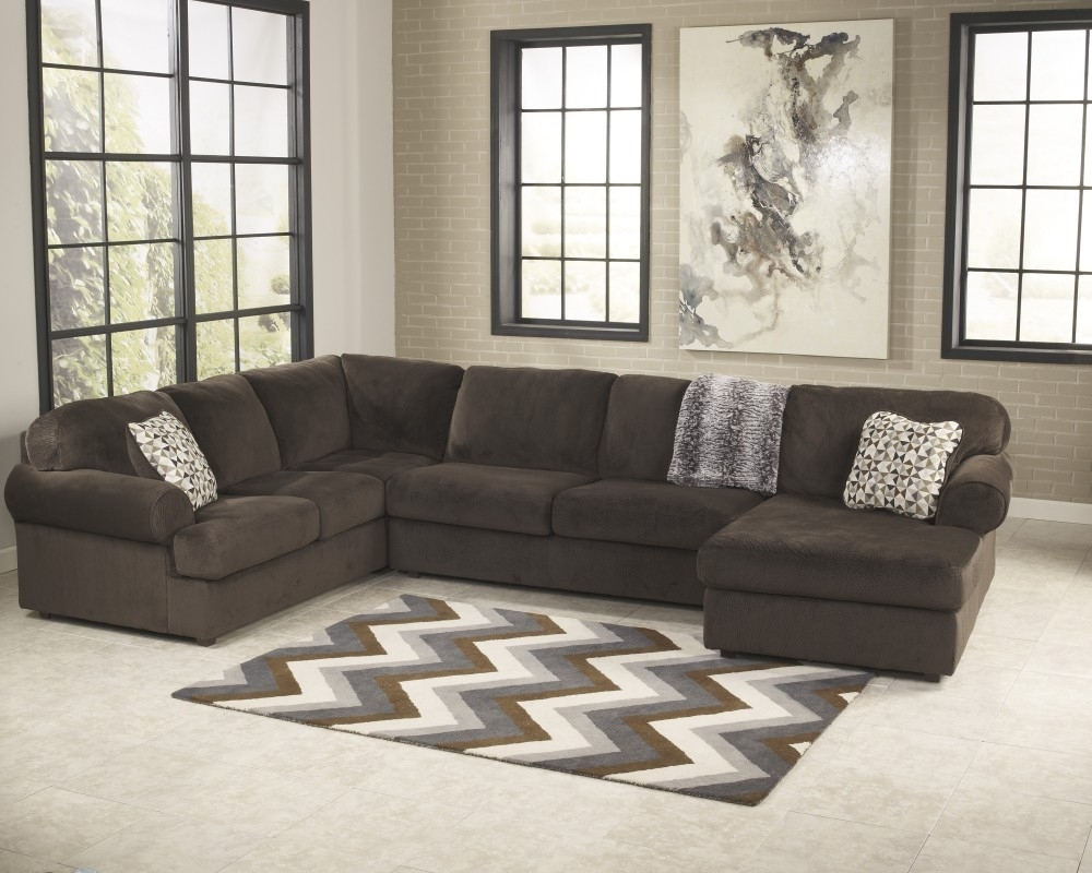 Jessa Place - Chocolate 3 Pc. Raf Chaise Sectional | Sectionals intended for Haven 3 Piece Sectionals (Image 22 of 32)